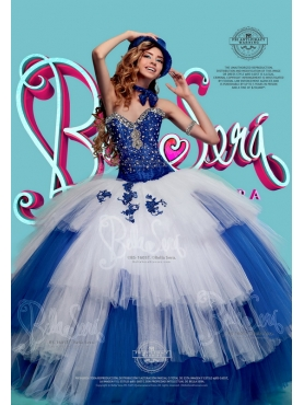 Discount Wonderful Tulle Beaded and Ruffled Quinceanera Gown in White and Blue