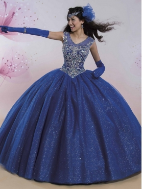 Discount New Style Cap Sleeves Really Puffy Quinceanera Dress with Beading and Sequins MSRY001