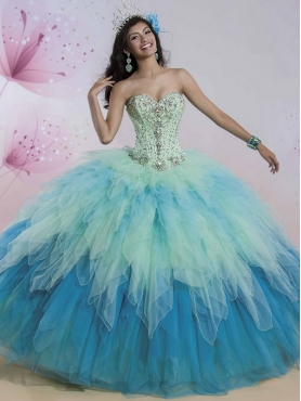 Discount Sophisticated Beaded and Ruffled Big Puffy Quinceanera Dress in Rainbow  MSRY002