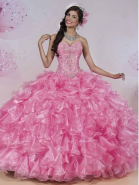 Discount Beautiful Beaded and Ruffled Organza Sweet 16 Dress in Rose Pink MSRY016