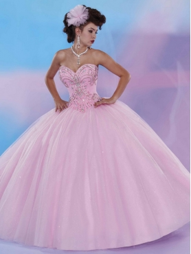 Discount Best Selling Beaded Big Puffy Quinceanera Dress in Baby Pink MSRY036