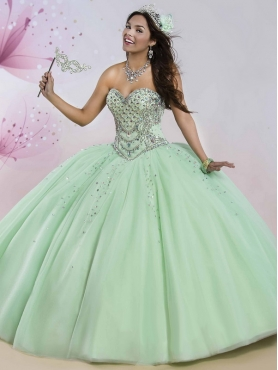 Discount Best Selling Beaded Bodice Really Puffy Sweet 16 Dress in Apple Green MSRY004