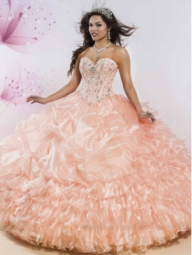 Discount Best Selling Big Puffy Peach Quinceanera Dress with Beading and Ruffled Layers MSRY015