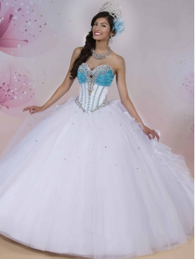 Discount Classical Beaded and Ruffled Big Puffy Quinceanera Dress in White MSRY019