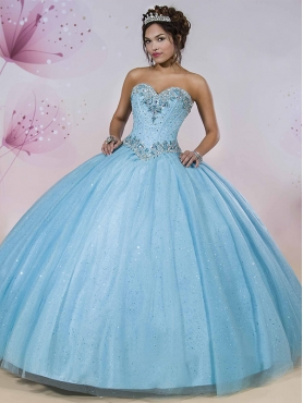 Discount Decent Beaded and Sequined Detachable Quinceanera Gown in Light Blue MSRY009