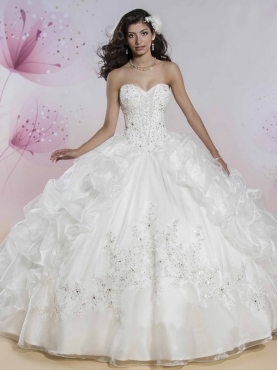 Discount Exclusive Applique Organza White Sweet 16 Dress with Beading and Bubbles MSRY013