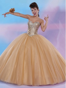 Discount Exclusive Big Puffy Champagne Quinceanera Dress with Rhinestone and Sequins MSRY029