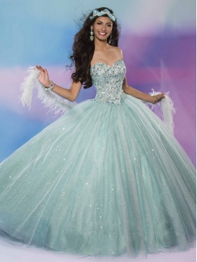 Discount Fashionable Beaded Bodice and Sequined Sweet 16 Dress in Apple Green MSRY022