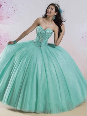 Discount Gorgeous Beaded Bodice and Sequined Sweet 16 Dress in Tulle MSRY007