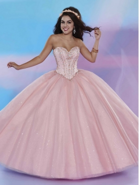Discount Hot Sale Visible Boning Tulle Baby Pink Sweet 16 Dress with Beading MSRY025