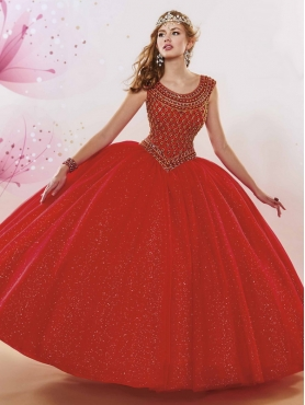 Discount Lovely Scoop Zipper Up Red Quinceanera Gown with Beaded Bodice MSRY005