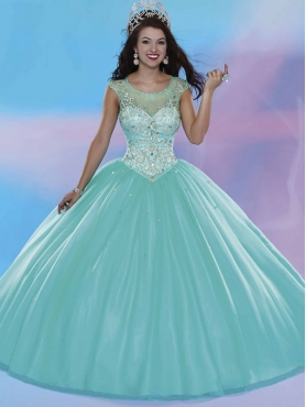 Discount Lovely See Through Scoop Cap Sleeves Quinceanera Dress with Beading MSRY026