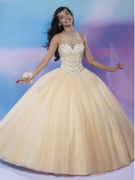 Discount Luxurious See Through Beaded Decorated Halter Top Quinceanera Gown in Champagne MSRY039