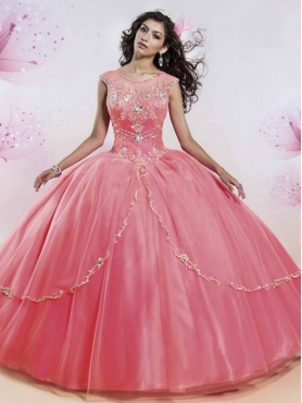 Discount Luxurious See Through Watermelon Quinceanera Dress with Beading and Appliques MSRY012