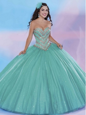 Discount New Style Beaded and Applique Big Puffy Quinceanera Dress in Turquoise MSRY030