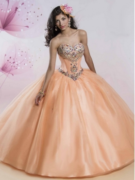 Discount Perfect Orange Big Puffy Detachable Quinceanera Dress with Rhinestone MSRY020