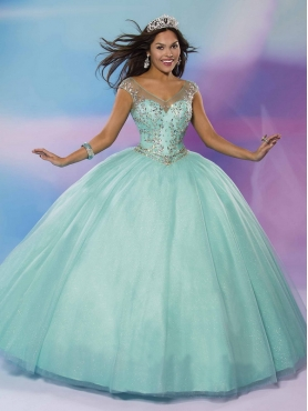 Discount Perfect See Through V Neck Cap Sleeves Quinceanera Dress with Beading MSRY035