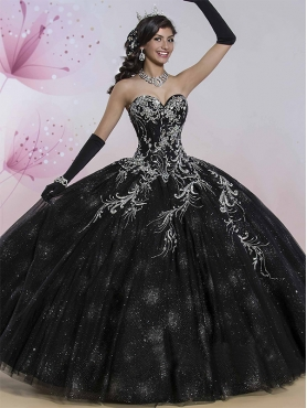 Discount Romantic Black Really Puffy Quinceanera Dress with Appliques and Embroidery MSRY010