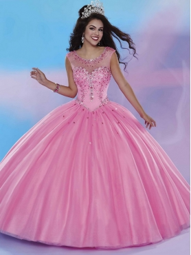 Discount Romantic See Through Scoop Beading Quinceanera Dress in Rose Pink MSRY028