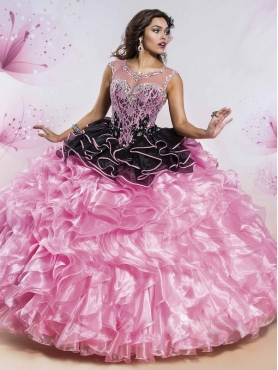 Discount See Through Open Back Black and Rose Pink Quinceanera Dress with Beading MSRY018