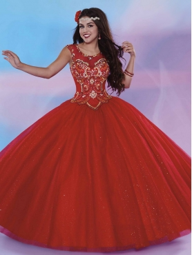 Discount See Through Scoop Red Open Back Quinceanera Gown with Beading MSRY027