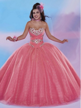 Discount The Most Popular Beaded Bodice Tulle Quinceanera Dress in Watermelon MSRY032