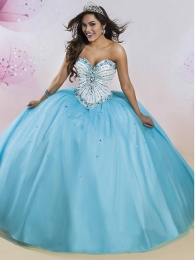 Discount The Most Popular Beaded Detachable Quinceanera Dress in Baby Blue and White MSRY011