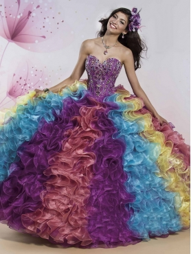 Discount Visible Boning Rainbow Really Puffy Quinceanera Gown with Beading and Ruffles MSRY017