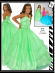 Discount Beautiful green ball gown strap floor length Lime Pageant Dress Ritzee Girls 6014