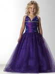 Discount Amazing Purple A-Line V- neck  floor length Little Girl Pageant Dress 13245