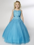 Discount Luxurious Blue Ball gown Strap floor length Little Girl Pageant Dress 13235