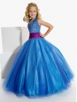 Discount Luxurious Blue Ball gown V- neck  floor length Pageant Dress for Girls by Tiffany Princess 13260