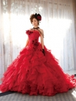 Discount Wholesale Luxurious Red Organza Ball gown Strapless Floor-length Quinceanera Dresses Style CP221