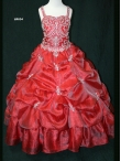 Discount 2012 Brand Red new Ball gown Strap Floor-length Flower Girl Dresses Style LR634