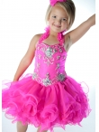 Discount Wholesale Latest Ball gown Halter Short Flower Girl Dresses Style UF1065