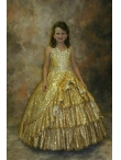 Discount Gold Halter Sequin Ruffled Layers Quinceanera Dress