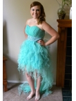 Discount A-line Ruffles Apple Green Prom Dress