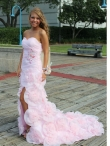 Discount Column Brush Train Pink Sweetheart Beading Prom Dress