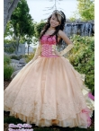 Discount Lovely Champagne Strapless Appliques Quinceanera Dress