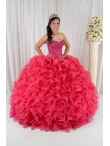 Discount 2014 Customize Appliques and Ruffles Quinceanera Gowns in Coral Red QUML017