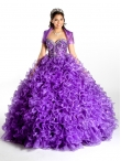 Discount 2014 Exclusive Purple Quinceanera Dresses with Beading and Ruffles KSCT034