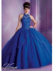 Discount 2014 New Style Halter Top Beading Navy Blue Quinceanera Dress MLER061