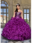 Discount 2014 Perfect Purple Quinceanera Dress with Appliques and Ruffles DVCI035