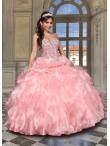 Discount Affordable Watermelon Red Sweet 15 Dress with Beading and Ruffles For 2014 DVCI031