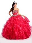 Discount Customize Red Quinceanera Dresses with Beading and Ruffles For 2014 KSCT030