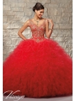 Discount 2015 Spring Fahionable Appliques and Ruffles Red Sweet 16 Dress MRLE017