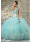 Discount Unique Aqua Blue Quince Dress with Appliques and Ruffles for 2015 MRLE009