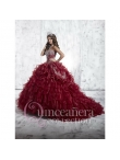 Discount Burgundy Sweetheart Beading and Appliques Quinceanera Dresses with Ruffles HOFW019