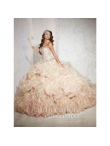 Discount Champagne Sweetheart Beading and Ruffles Quinceanera Dresses for 2015 HOFW024