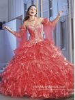 Discount Most Popular Dress for Quinceanera with Appliques and Ruffles in Coral Red for 2015 MASY010